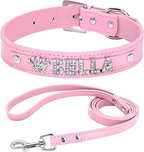 Berry Collares de perro de piel sintética suave personalizados con diamantes de imitación de cristal, letras y abalorios, ajustables para perros pequeños y medianos, negro, XS (8-10.5 pulgadas)