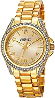 August Steiner Women's Crystal Bezel and Lugs Dress Watch - Sunburst Dial on Yellow Gold Tone Stainless Steel Bracelet -...