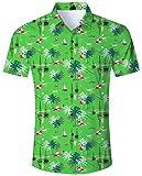 ALISISTER Camisa Hawaiana Hombre Floral Camisa de Manga Corta Impresa Shirts Colorida 3D Flamingo Camisa Tropical de Down Button Aloha Verano Camisas XXL