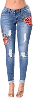 Fashion Womens High Waist Embroidered Print Skinny Jeans Distressed Denim Pants