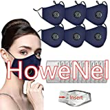Face Bandanas with Breathing valve + Activated Carbon Filter Replaceable Haze Dust for Adults (6pcs + 12 Filter, Blue)