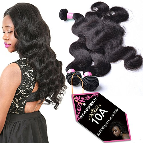 Brazilian Human Hair 3 Bundles With 13x4 Ear to Ear Lace Frontal Closure Pre Plucked Baby Hair Best Peruvian Remy Hair Weave Cheap indian Virgin Hair Body Wave Natural Black Color 8 8 8 And 8 inch