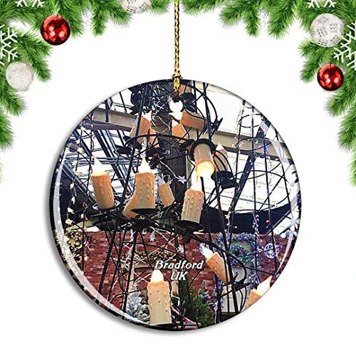 Weekino Großbritannien England Bradford Tong Garden Centre Weihnachtsdekoration Christbaumkugel Hängender Weihnachtsbaum Anhänger Dekor City Travel Souvenir Collection Porzellan 2,85 Zoll