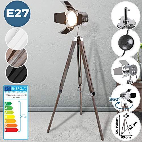 Stehlampe mit Stativ aus Holz - EEK: A++ bis E, LED, E27, Höhenverstellbar max. 148 cm, Vintage - Tripod lampe, Dreifuss Stehleuchte, Standleuchte, Studiolampe - für Wohnzimmer, Schlafzimmer, Büro