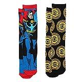 Doctor Strange Comic Book Figure & Eyes 2-pack Adult Crew Socks - Black/Yellow Blue/Red