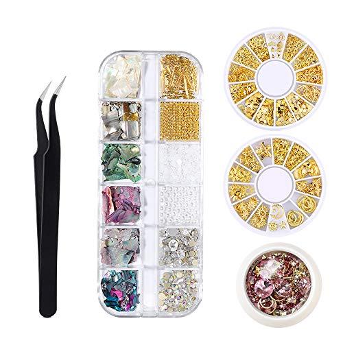 Deciniee Pedrería para Uñas, 39 Tipos de Kit de Accesorios para Decoración de Uñas con Pinzas de Recogida Mezcla de Remaches Metálicos para Uñas Piedras de Cristal Escamas para Uñas