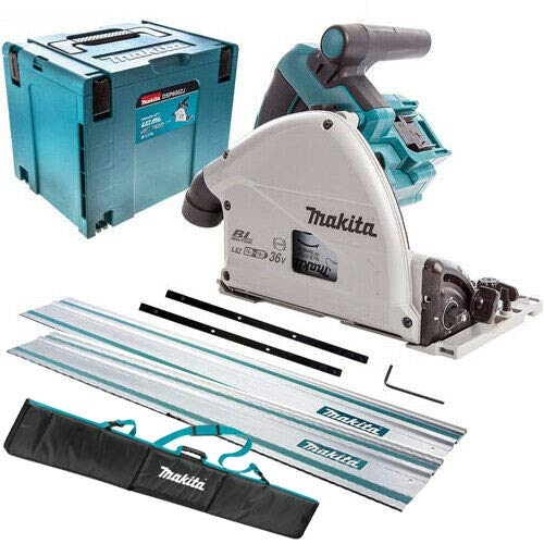 Makita DSP600ZJ Twin 18V Brushless Plunge Saw in Case with 2 x Guide Rail, Connector & Bag
