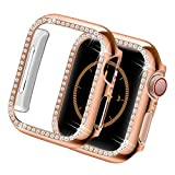 Yolovie Compatible for Apple Watch Case 38mm 40mm 42mm 44mm Bling Crystal Diamonds Rhinestone Bumper Cover for Women Girl, Hard PC Protective Frame for iWatch Series 6/5/4/3/2/1/SE - 38mm Rosegold
