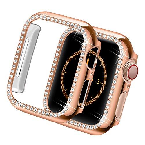 Yolovie Custodia Compatibile per Apple Watch Serie 6 SE 5 4Cassa, operchio Viso Diamanti di Cristallo Bling Strass Lucido, Cornice Protettiva per iWatch Donna Ragazze. 40mm Oro Rosa