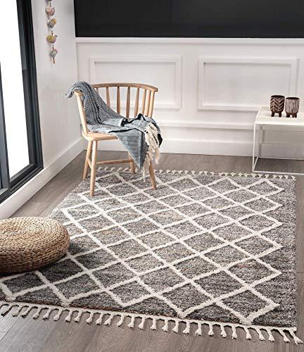 Vera Super Weicher Wohnzimmer Teppich, Handmade-Look, Fransen, 3D Effekt, Rauten-Muster, Hochflor 30 mm, 160x230 cm