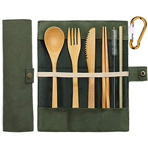 Bamboo Cutlery Set Bamboo Travel Utensils Portable Eco Friendly Flatware Set with Chopsticks, Knife, Fork, Spoon, Reusable Straws and Water Bottle Buckle for Camping Utensils Set -Green
