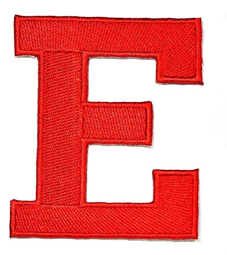 3 INCHES Red Letter E Patch Text Words English Alphabet Letters from A to Z Iron On Patches Embroidered Decorative Repair Jacket T-Shirt Hat Bag Clothing Stickers Badge Name Sewing (E)