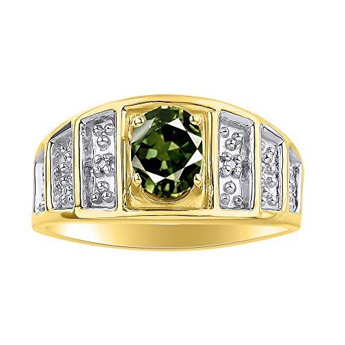 Juego de anillos de zafiro verde y diamante en oro amarillo de 14 quilates – piedra de color anillo de nacimiento