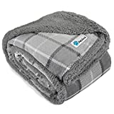 PetAmi Dog Blanket, Plaid Sherpa Dog Blanket | Plush, Reversible, Warm Pet Blanket for Dog Bed, Couch, Sofa, Car (Light Grey, 60x80 Inches)