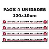 Pack 4 pegatinas para suelo, mantenga distancia de...