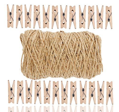 TK Gruppe Timo Klingler Wooden Set - 100x Holzklammer Mini & klein - 50x Meter Juteband - Kordel - Garn zum Basteln & Dekorataion (1x Set)
