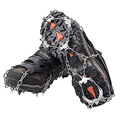 AUHIKE Traction Cleats,Ice Snow Grips Crampons for Footwear with 18 Stainless Steel Spikes for Walking, Jogging, Climbing,Wet Grass, Hiking on Snow and Ice (M)