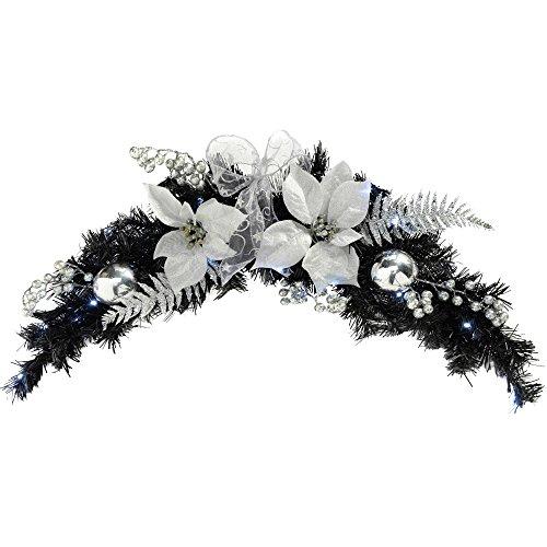 WeRChristmas 90 cm, verlichte boog, kerstdecoratie, slinger, verlicht, 20 koudwitte LED-lampen, zwart/zilver