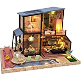 Casa de muñecas Loft de estilo chino muebles en miniatura Set DIY Decorativo 3D Puzzle LED Lámpara Principiante