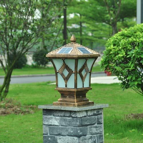 Antioxidante brillante europeo retro industrial lámparas de columna de aluminio solar exterior impermeable vidrio poste luces jardín puerta hogar balcón decorativo pilar luces E27 Edison: Amazon.es: Iluminación