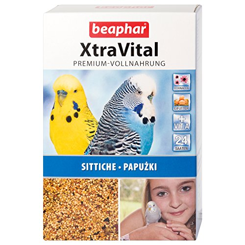 Beaphar XtraVital Parakeet Food | Delicious Food for Parakeets | With Fruit & Egg Food | With Echinacea & Vitamin A | 24 Different Seeds | 1 kg