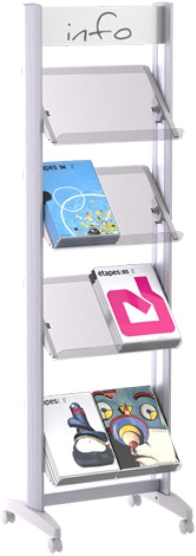 (Medium, Acrylic Shelves) - Paperflow EasyDisplays Single-Sided Literature Display, Acrylic Shelves, Medium, 50cm x 170cm x 38cm (8.A4TT.35)