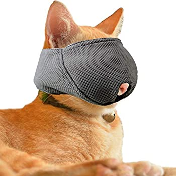wintchuk Cat Muzzle with Breathable Mesh Cat Mouth Guard Muzzle for Prevent Biting Chewing Grooming  M,Black