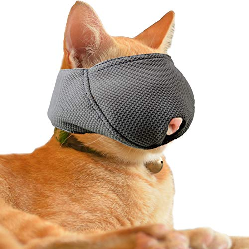 wintchuk Cat Muzzle with Breathable Mesh, Cat Mouth Guard Muzzle for Prevent Biting Chewing Grooming (S-Black)