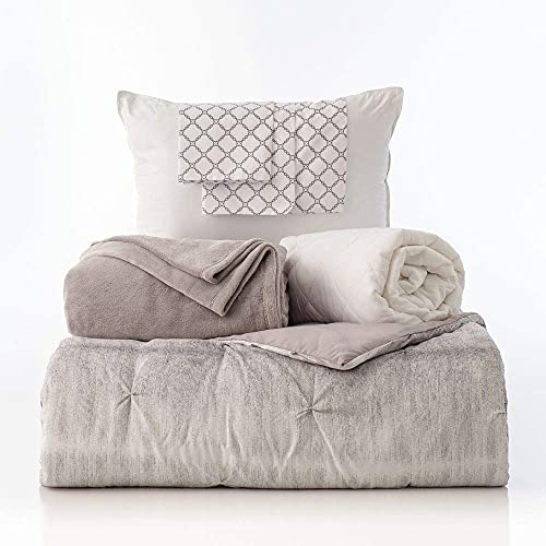 OCM College Dorm 7-Piece Bedding Bundle in Printed Kiss Pleat, Kiss Pleat in Gray and White   Twin XL   Comforter, Sheets, Pillow, Mattress Pad and Blanket