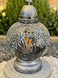 Grablampe Mosaiklampe Orientalisch mit Flammen-Motiv - Grablicht Kerze Grabkerze Grabdekoration Grabschmuck Gartenlampe incl.Grabkerze
