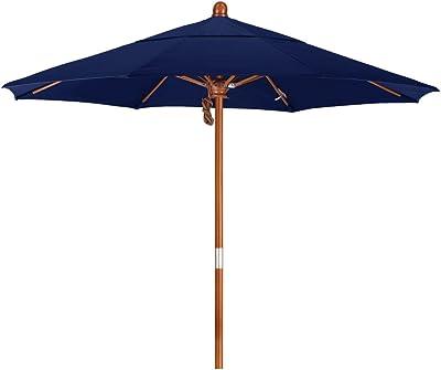 California Umbrella MARE908-SA39 9' Round Hardwood Pole/Ribs/Hub, Stainless Steel Pacifica Navy Blue