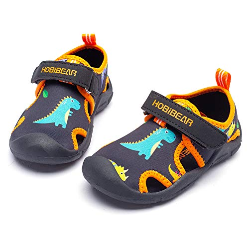 WOUEOI Toddler Boys Water Shoes Closed-Toe Girls Sport Quick Dry Beach Sandals Lightweight(Black/Orange-DD,6 Toddler)