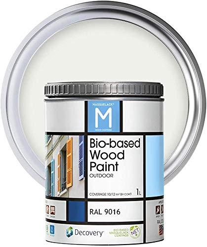 Pintura Para Madera Exterior | Color Blanco | 1 Litro | RAL 9016 | Pintura Para Madera | Pintura Ecológica Para Todo Tipo De Madera | Pintura Madera Exterior Con Un Aspecto De Acabado Semi Mate