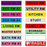 Fragile Stickers, 14 Different Living Spaces + 2 Rolls Handle with Care, 16 Rolls Total, 50 Labels//Roll, 1 Inch Height X 4.5 Inch Width 4 Bedroom House 800 Count Home Moving Color Coding Labels
