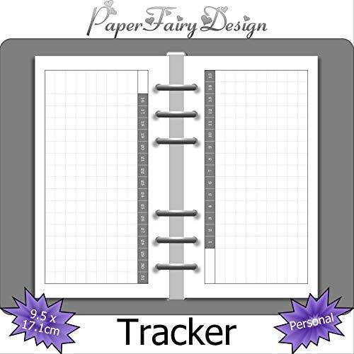 Kalendereinlagen - Personal (9.5cm x 17.1cm) - 8 Blatt (16 Seiten) Tracker (Mood, Habbit, Sleep.) - 120g Premium Papier