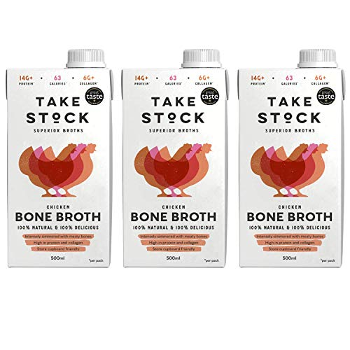 Chicken Bone Broth | 100% Natural | Gluten and Dairy Free | High in Protein and Collagen | 3 x 500ml | Not from Concentrate