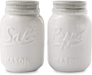 Vintage Mason Jar Salt & Pepper Shakers by Comfify - Adorable Decorative Mason Jar Décor for Vintage, Rustic, Shabby Chic - Sturdy Ceramic in White - 3.5 oz. Cap.