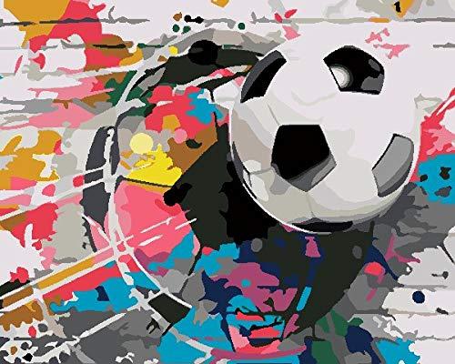 KLBPL Pintar por Numeros Fútbol De Pared Lino Lona–DIY Pintura Al Óleo Decoracion De Pared Regalos Sin Marco 40,6X50,8 Cm con Pinturas Acrílicas Y 3 Pinceles