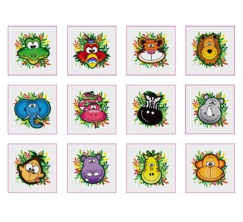 Henbrandt Lot de 12 tatouages temporaires Animaux de la jungle