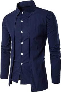 Men Dress Shirt Soild Formal Business Unique Design Cut Long Sleeve Shirt Tops Zulmaliu