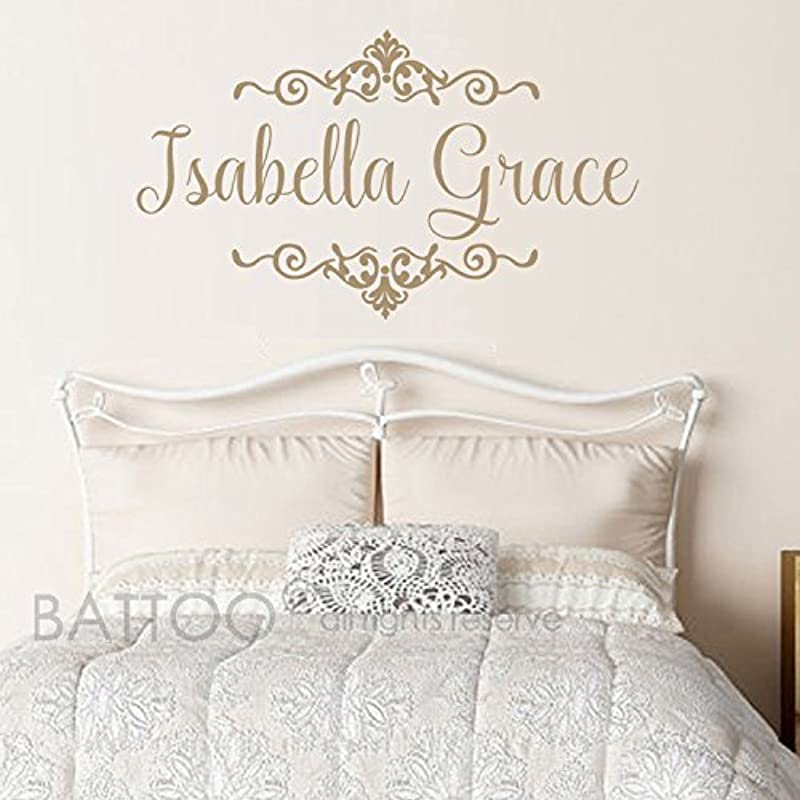 BATTOO Baby Girls Name Wall Decal With Beautiful Shabby Chic Frame Accents Wall Art Nursery Girl Or Boy Vinyl Personalized Name Wall Decal