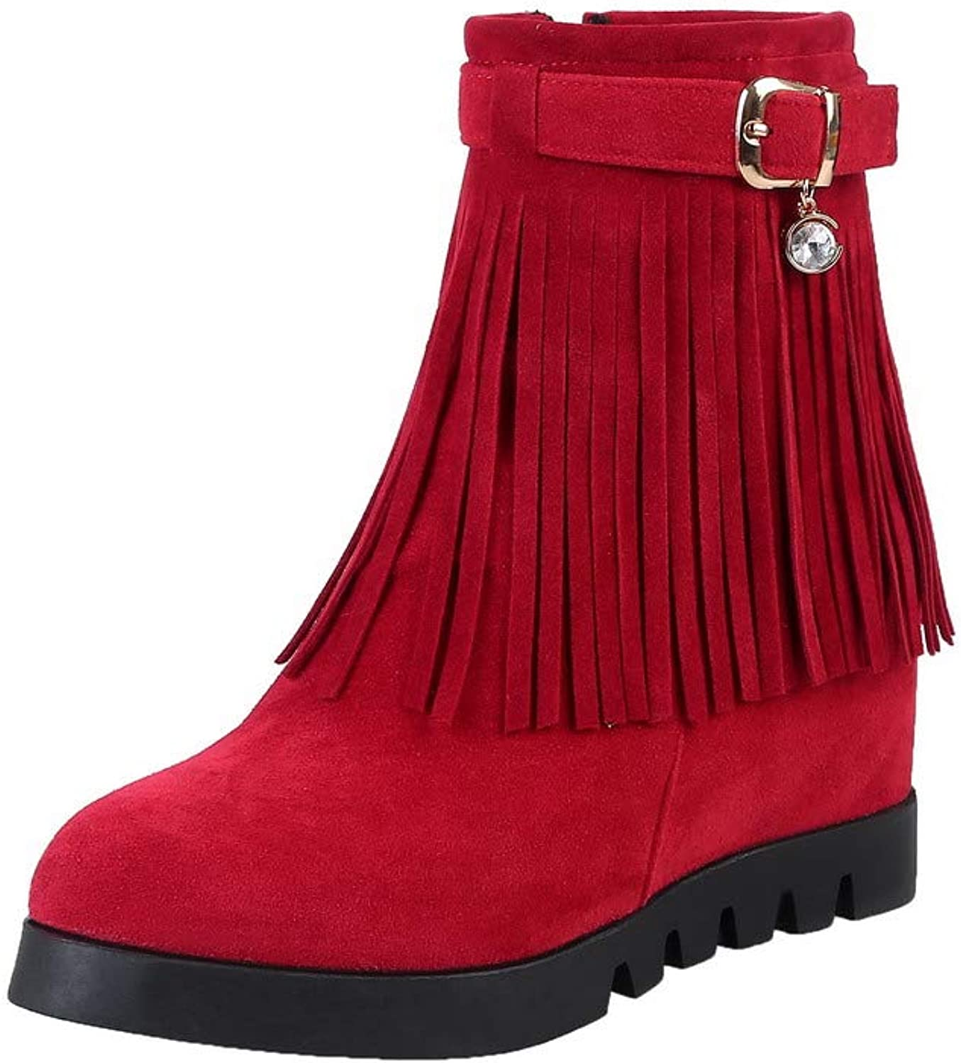 AmoonyFashion Women's Solid Frosted High-Heels Zipper Round-Toe Boots, BUSXT126987