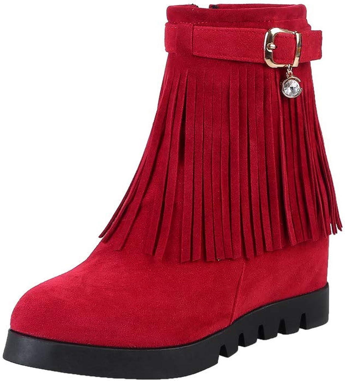 Amonymode Kvinnors Fasta Frosted High klackar Zipper Round Toe stövlar, stövlar, stövlar, BUXT126987  10 dagar tillbaka