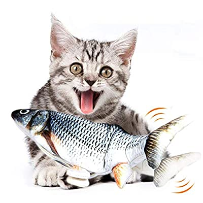 WONDAY Catnip Fish Toys for Cats-Realistic Plush Simulation Electric Doll Fish-Lifetime Replacement Guarantee-Funny Interactive Pets Chew Bite Supplies for Cat (Navybule)