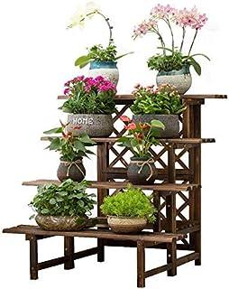 JF-XUAN Flower Stand, Solid Wooden Flower Shelf Indoor Living Room Floor-standing Stepped Flower Pot Rack Plant Stand