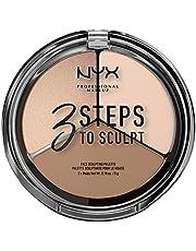 NYX Professional Makeup 3 Steps To Sculpt Face Sculpting Palette paleta do konturowania twarzy, pudry w dwóch odcieniach i rozświetlacz, karnacja jasna, Fair 01, 15 g