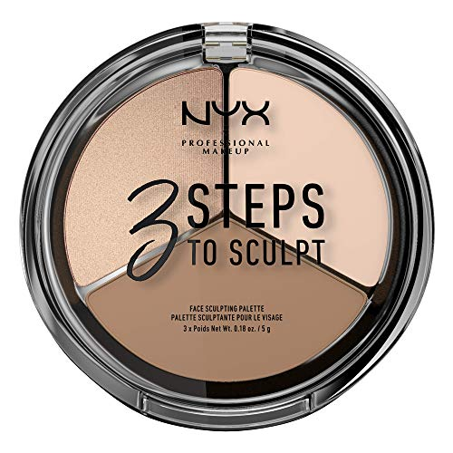 NYX Professional Makeup 3 Steps to Sculpt Face Sculpting Palette- Gesichts-Puder zum definieren, konturieren und highlighten, 3 Nuancen, 15 g, Fair1