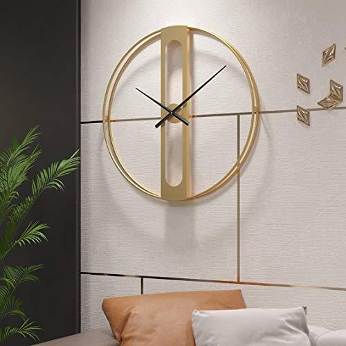 Funtabee - Reloj de pared moderno minimalista de gran tamaño para salas de estar, reloj de pared de esqueleto dorado, silencioso, sin ticking, ideal para salones, cocinas, oficinas, hoteles (dorado)