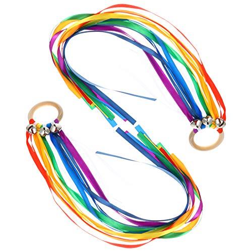 TOYANDONA Juego de 2 anillos de danza sensorial, diseño de dragón arcoíris con campanas, juguete sensorial, juguete para aprender Montessori Waldorf para niños pequeños