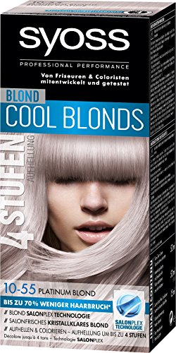Syoss Blond Cool Blonds Haarfarbe, Haarfarbe, 10-55 Platinum Blond Stufe 3, 3er Pack (3 x 115 ml)